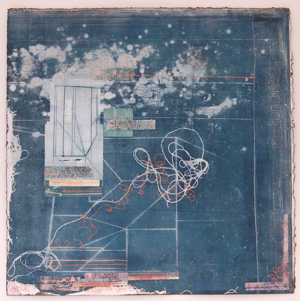 Echo i    Drypoint, mono print and mixed media