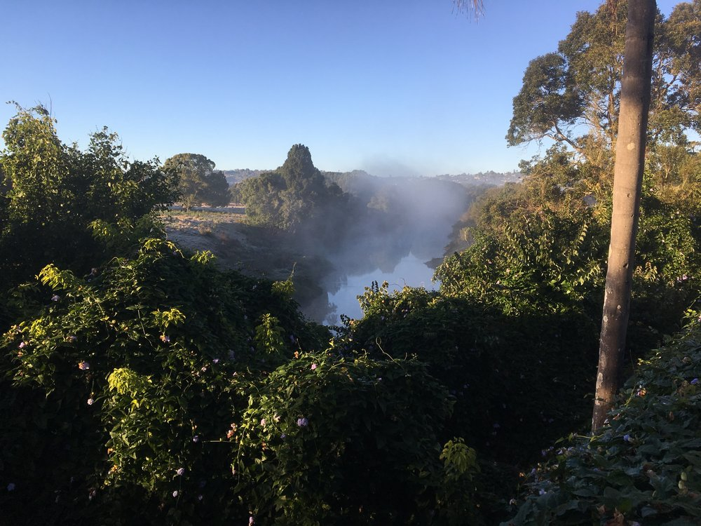 Early morning mist rising from the river    The school was sited fairly high up on a hillside and surrounded by a river that virtually circled around the entire area. Early morning especially provided some beautiful misty views - it didn't take long for me to regret not packing my camera - I had to resort to getting pictures with my phone.