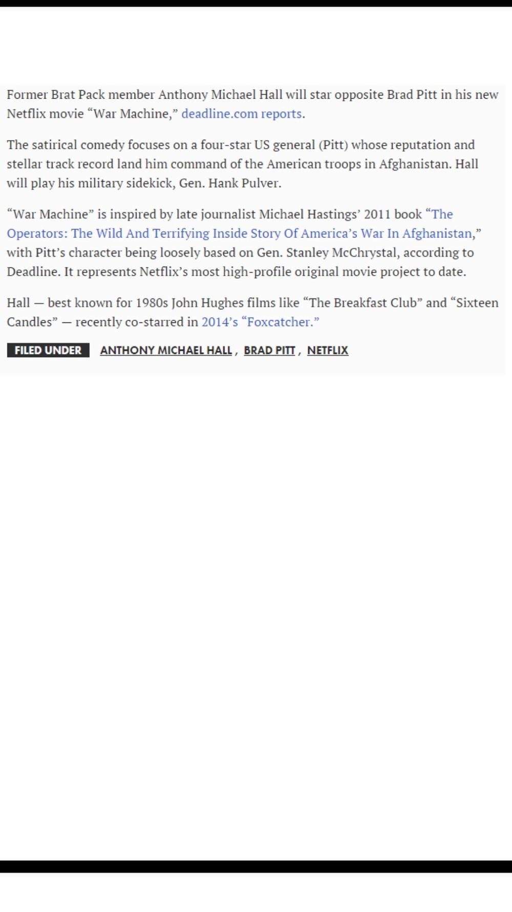 WAR MACHINE': ANTHONY MICHAEL HALL joins BRAD PITT in NETFLIX film