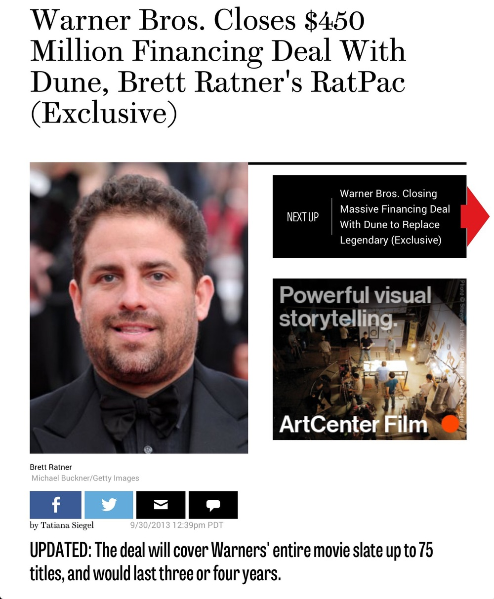 My old friend, little brother and producing partner, Brett Ratner of RATPAC entertainment. Brett inked his incredible deal back in 2012 with Warner Brothers.