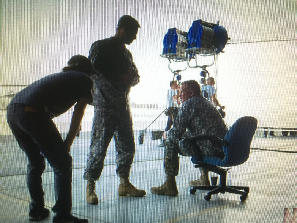 Director David Michôd, Brad Pitt and Anthony Michael Hall on location filming the Netflix original film 'War Machine' in Ras Al Khaimah, U.A.E., October 2015.
