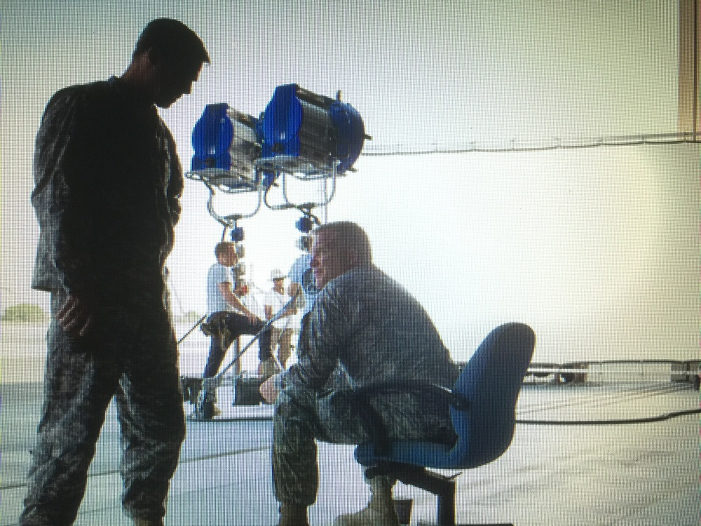 Pitt and Hall on set in RAK, U.A.E. Sept. 2015.