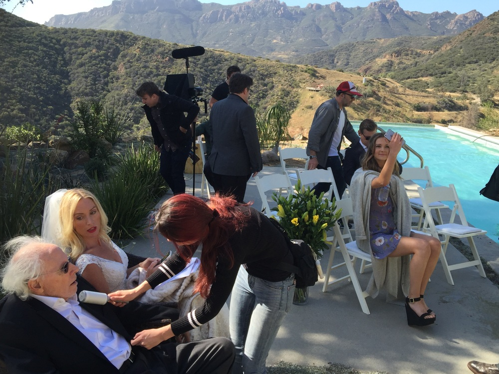 Chillin on set: Bruce Dern(left) &Victoria Smurfit(the bride) relax with some of the cast and crew, on location in Malibu, Californai during the filming of  'The Lears.'  April 28th 2016.