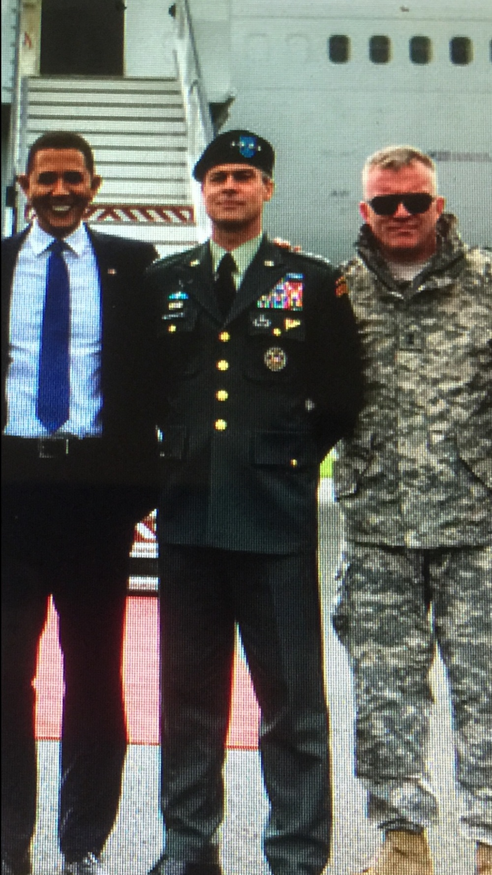 "President Obama, General Stanley McCrystal and General Mike Flynn are portrayed vby; (L-R)Reggie Brown as President Barack Obama, Brad Pitt as 'General Glenn McMahon'(McCrystal) and Anthony Michael Hall as 'General Greg Pulver'.  'WAR MACHINE' - written & directed by    David Michod(""Animal Kingdom"",""The Rover"").  Produced by Plan B. & Netflix.    'War Machine' will premiere this fall in theaters worldwide and on NETFLIX.    Release date: 2017"