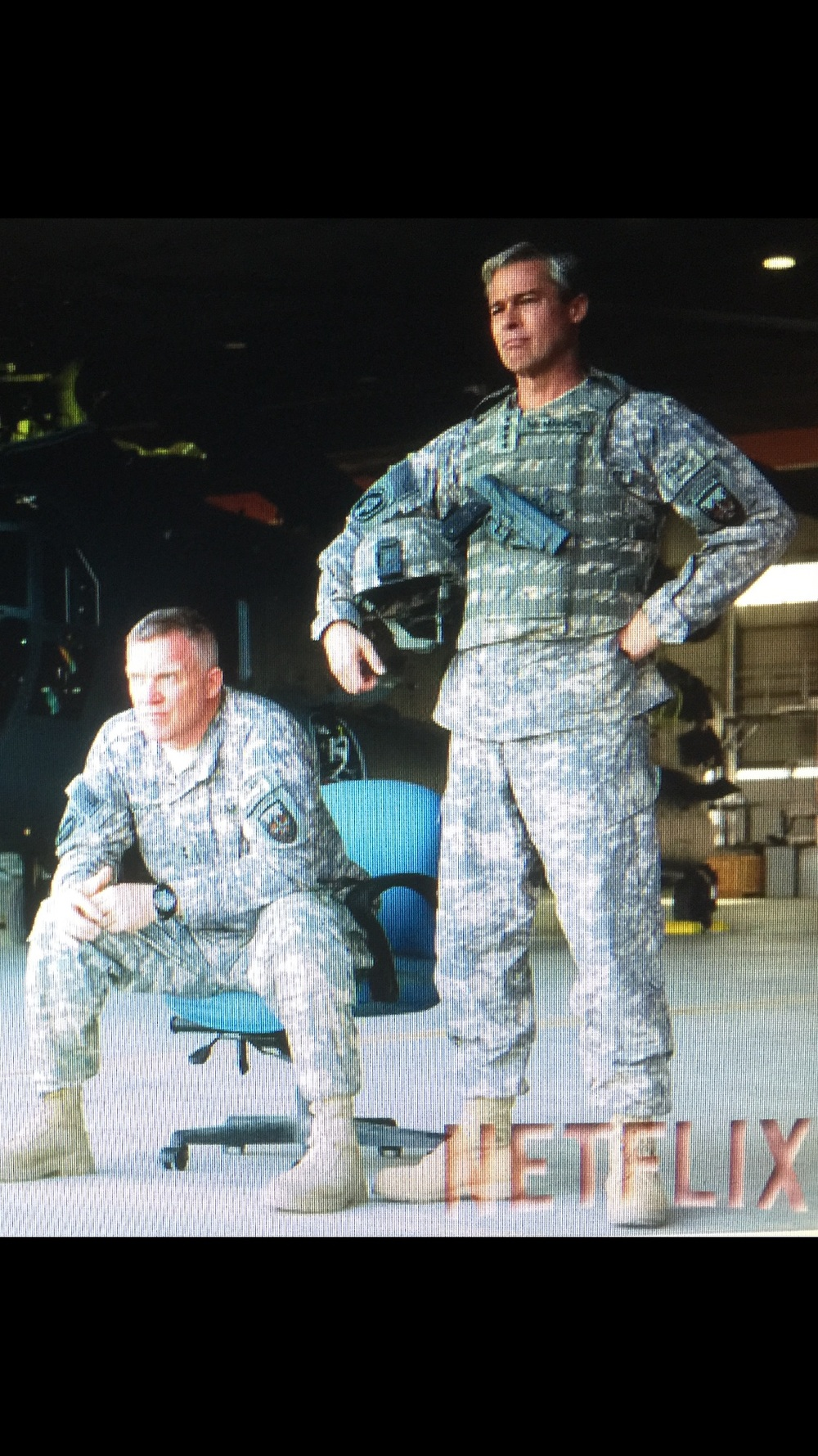 "The Generals:  HALL is 'General Greg Pulver'.  PITT(R) is 'General  Glenn McMahon'- two United States Army Generals in the NETFLIX original film,""WAR MACHINE"". The film is based on Michael Hastings'        2012,  NY Times bestselling book ""The Operators"" which chronicled the events of the Iraq war.  The book also focuses on the rise of former U.S. Army General Stanley McCrystal, as he lead the U.S. troops in      Iraq -- then later in the Afghanistan war. Mr. Pitts'company, Plan B purchased the film rights for the book in 2015,  and enlisted Australian filmmaker David Michôd to adapt the screenplay and direct the film -- which became ""War Machine."""