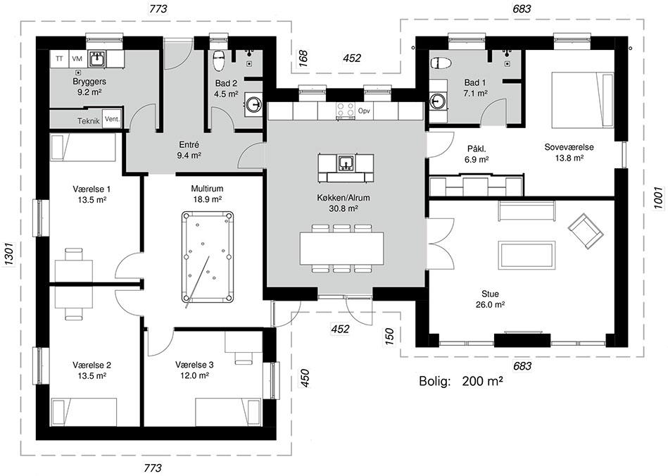 H-Huse model 200 -  Hent plantegning (PDF)