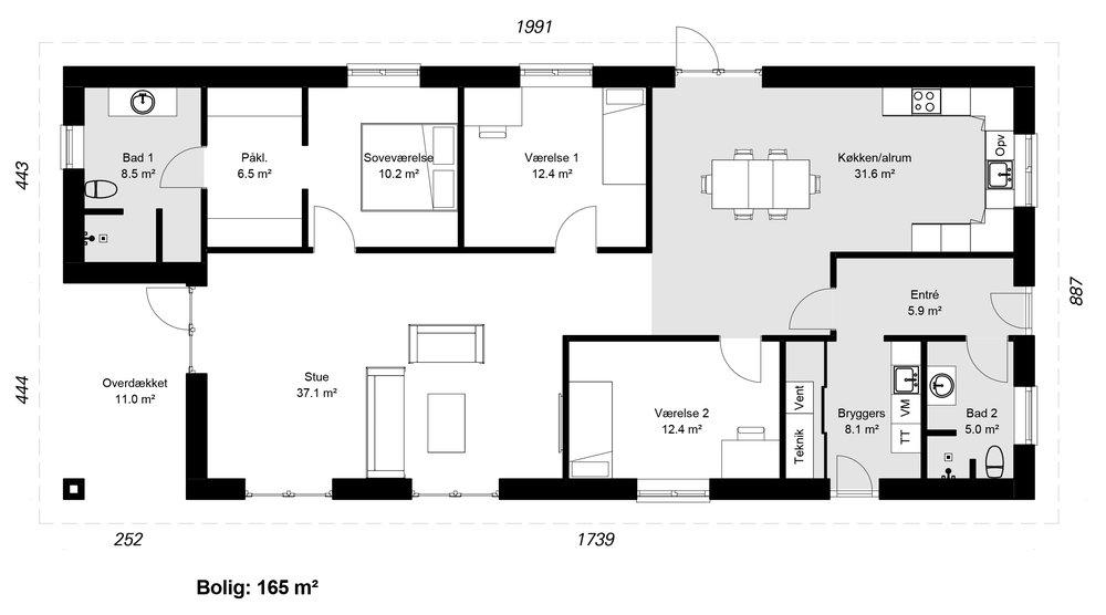 Længehus model 165 -   hent plantegning (PDF)