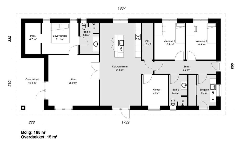 Længehus model 165-15 -   hent plantegning (PDF)