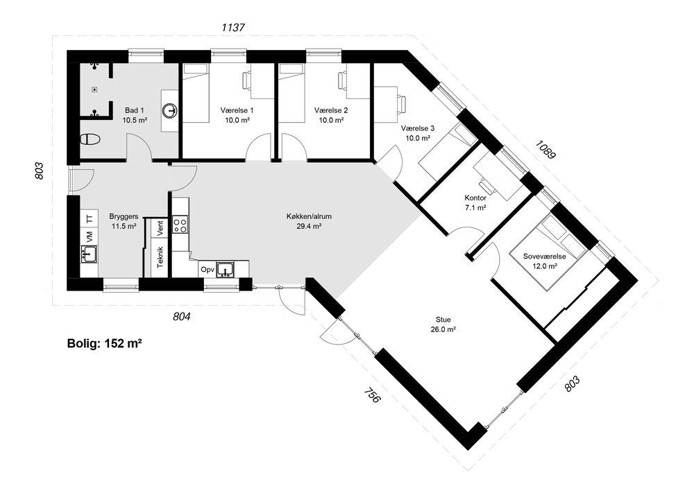 Knækhuset model 152-1 -  Hent plantegning (PDF)