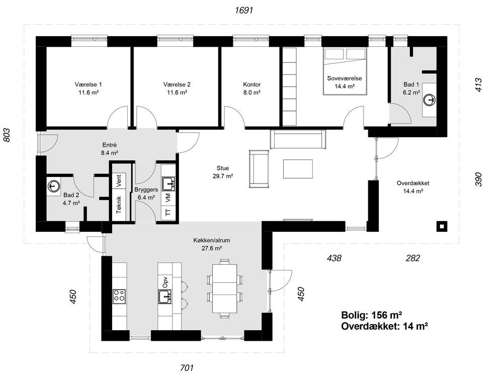 Vinkelhus model 153 -  Hent plantegning (PDF)