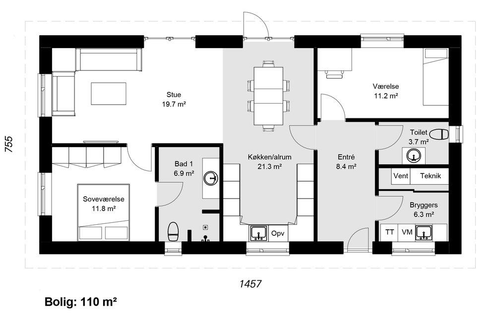 Længehus model 110 -  Hent plantegning (PDF)