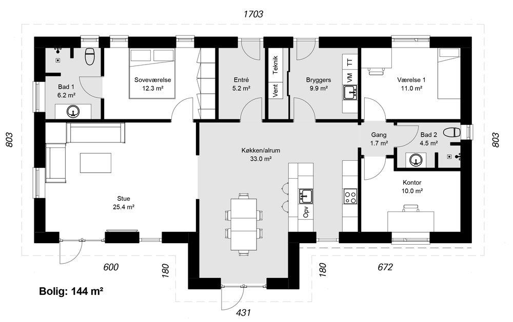 Vinkelhus model 144 -  Hent plantegning (PDF)