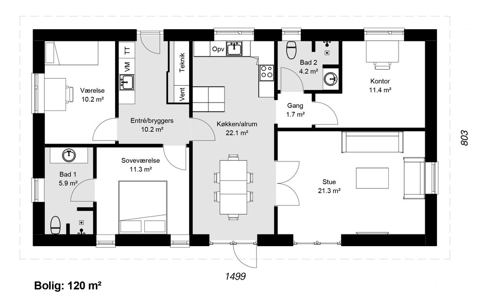 Længehus model 120 -   Hent plantegning (PDF)