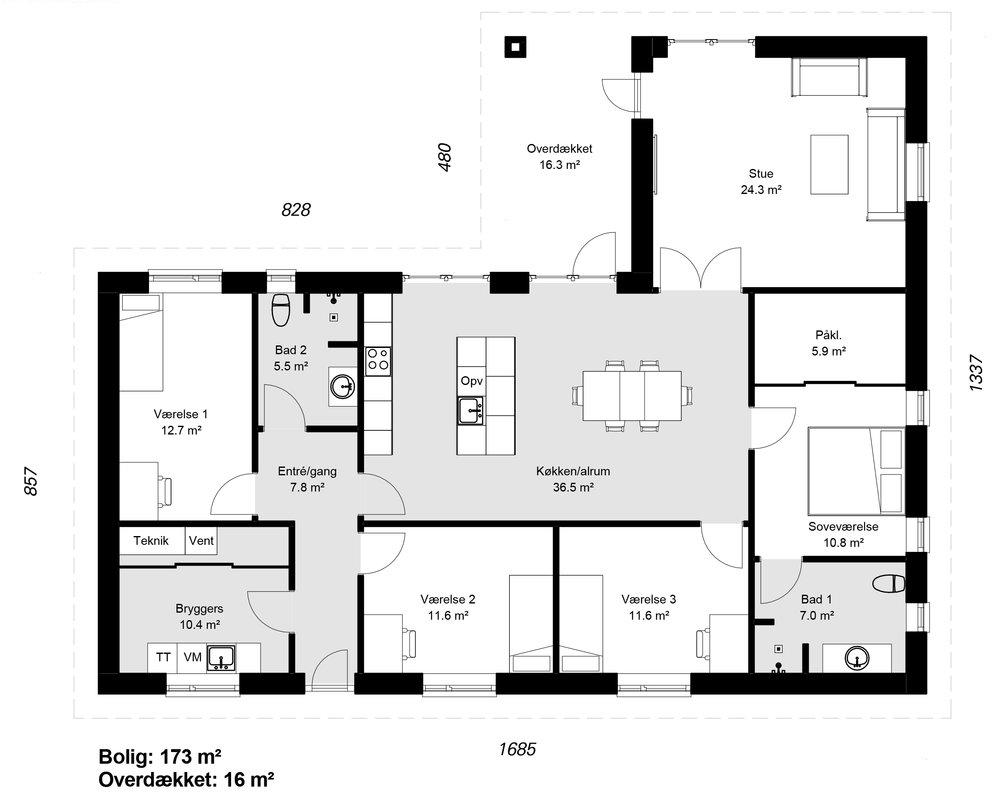 Vinkelhus model 173-1 -  Hent plantegning (PDF)