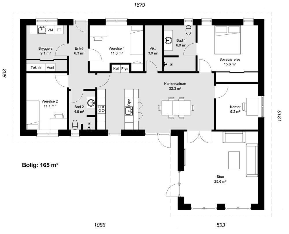Vinkelhus model 165 -  Hent plantegning (PDF)
