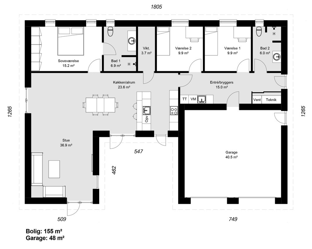 Vinkelhus model 155 m/garage -  Hent plantegning (PDF)