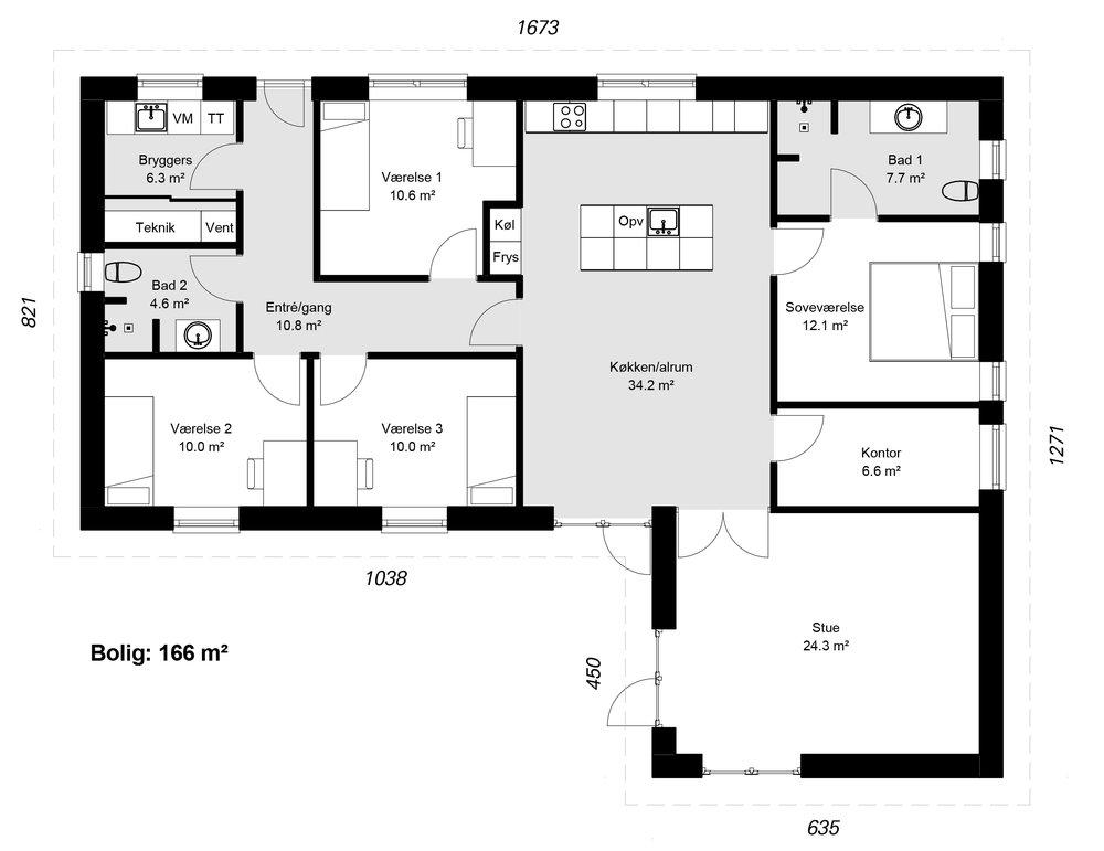 Vinkelhus model 166 -  Hent plantegning (PDF)