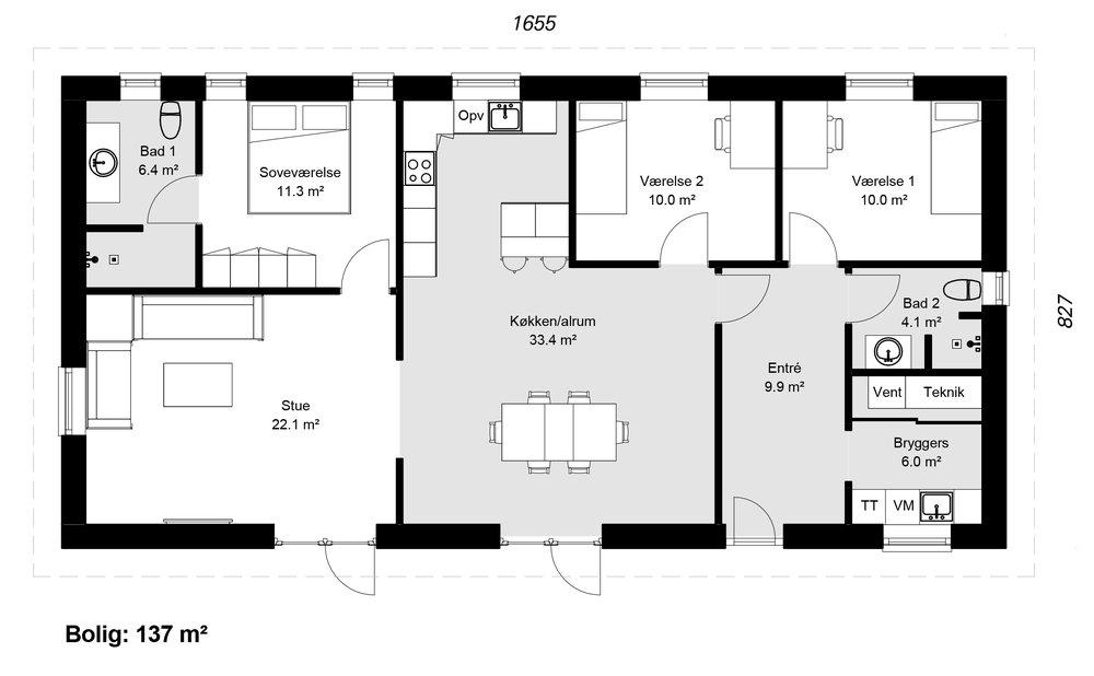 Længehus model 137 -  Hent plantegning (PDF)