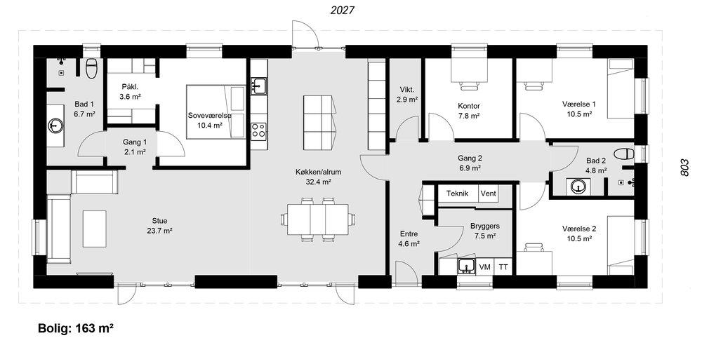 Længehus model 163 -  Hent plantegning (PDF)