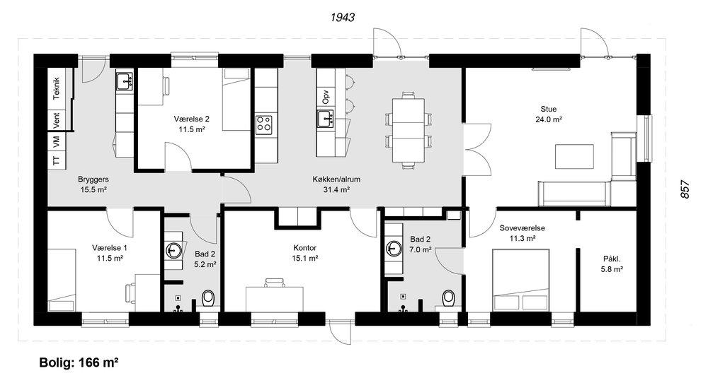 Længehus model 166 -  Hent plantegning (PDF)