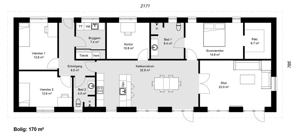 Længehus model 170 -  Hent plantegning (PDF)