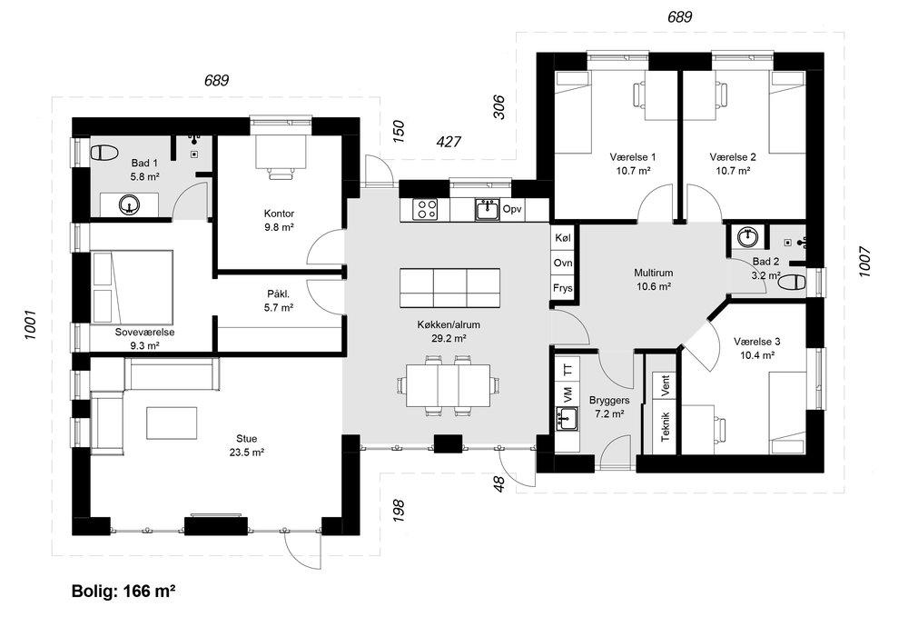 H-Huse model 166 -  Hent plantegning (PDF)