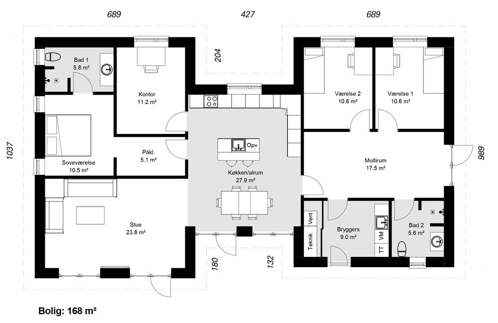 H-Huse model 168 -  Hent plantegning (PDF)