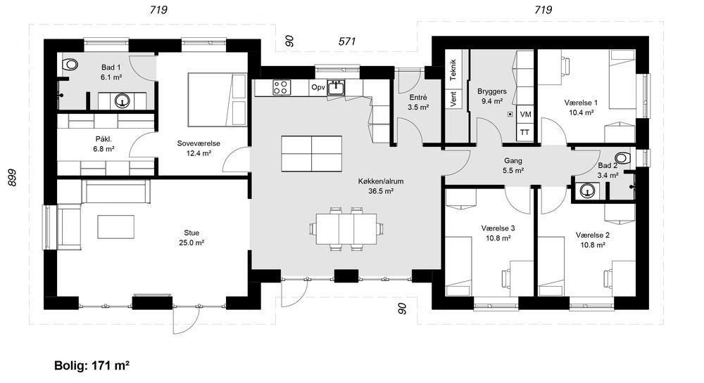 H-Huse model 171 -  Hent plantegning (PDF)