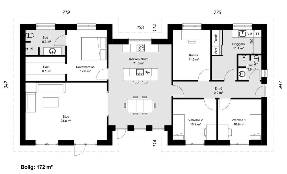 H-Huse model 172 -  Hent plantegning (PDF)