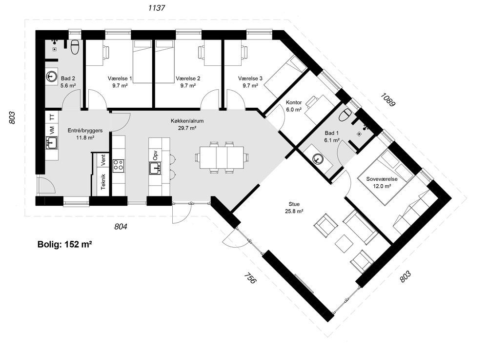 Knækhuset model 152 -  Hent plantegning (PDF)