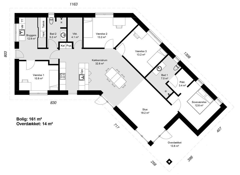 Knækhuset model 161 -  Hent plantegning (PDF)