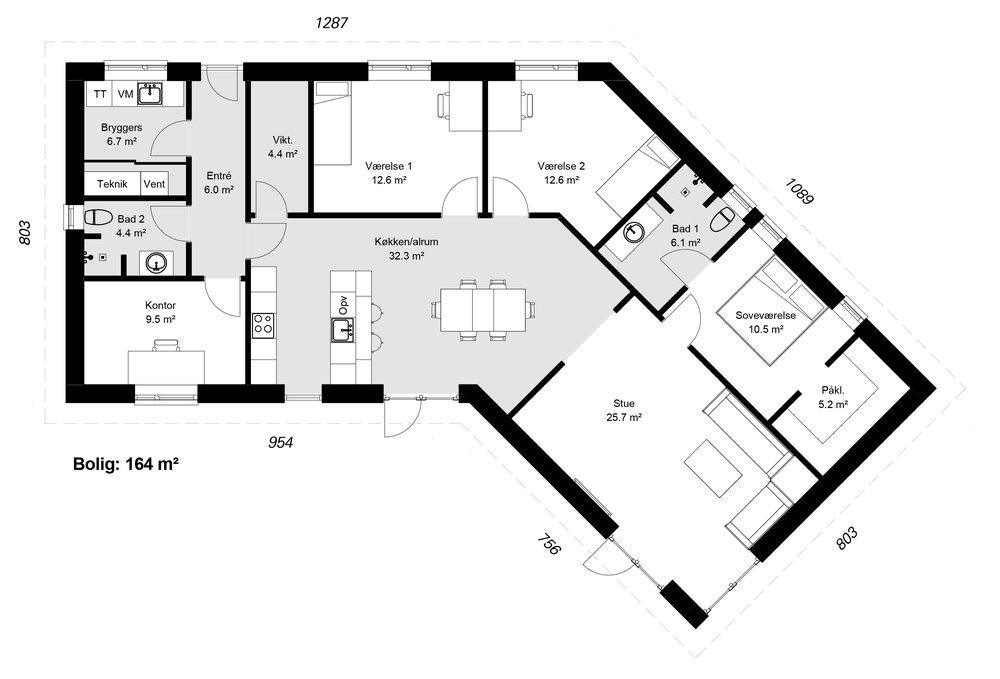 Knækhuset model 164 -  Hent plantegning (PDF)