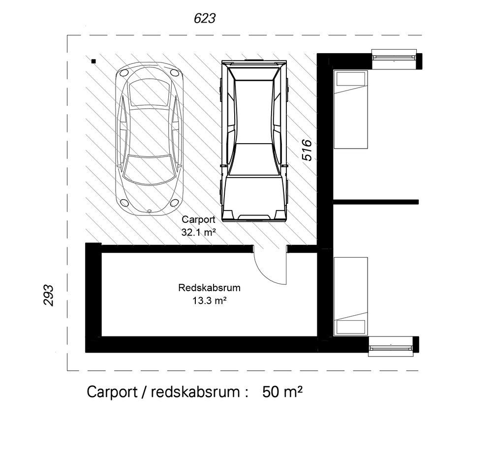 Åben carport C2-  Hent plantegning (PDF)