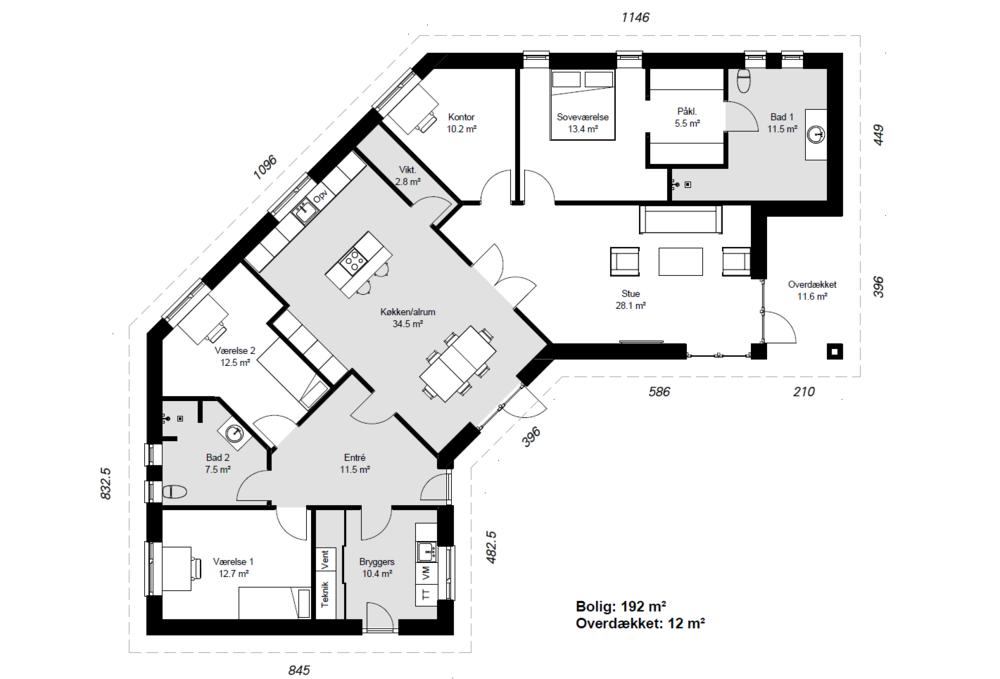 Knækhuset model 192 -  Hent plantegning (PDF)