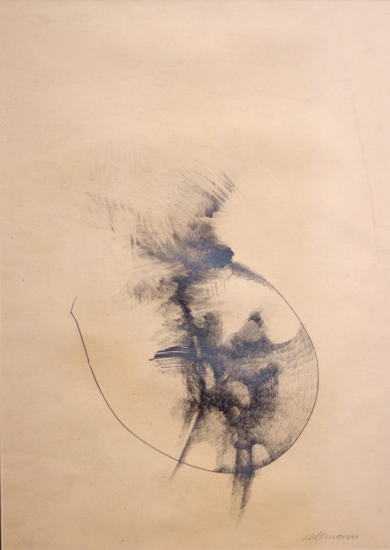 Cellula (Cell) - matita e carboncino su carta (pencil and charcoal on paper) - 1973