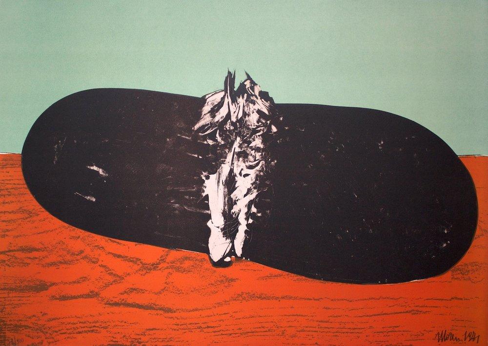 L'anguria sul tavolo si esibisce - Watermelon performs on table / litografia su carta - lithography on paper. 1971