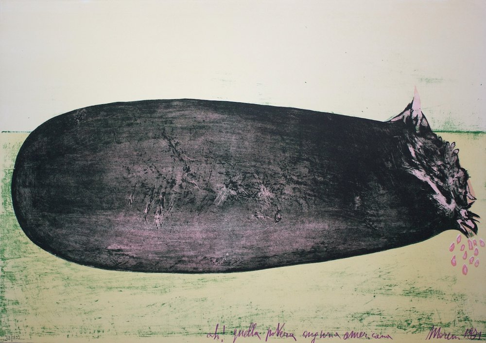 Ah! Quella povera anguria americana (Ah! That poor american watermelon) - litografia su carta (lithography on paper) - 1971