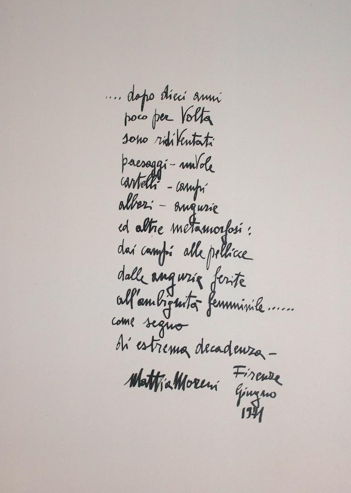 Mattia Moreni - Scritti (Writings) - 1971