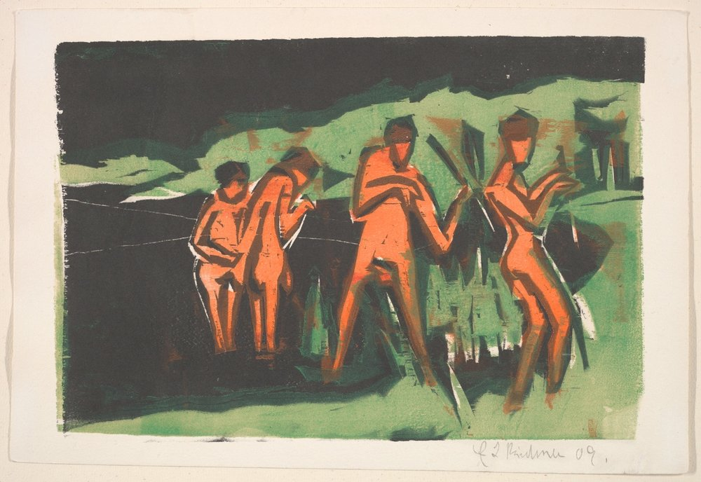 Ernst Ludwig Kirchner / Bathers Throwing Reeds / Wood engraving (Incisione) / 1909