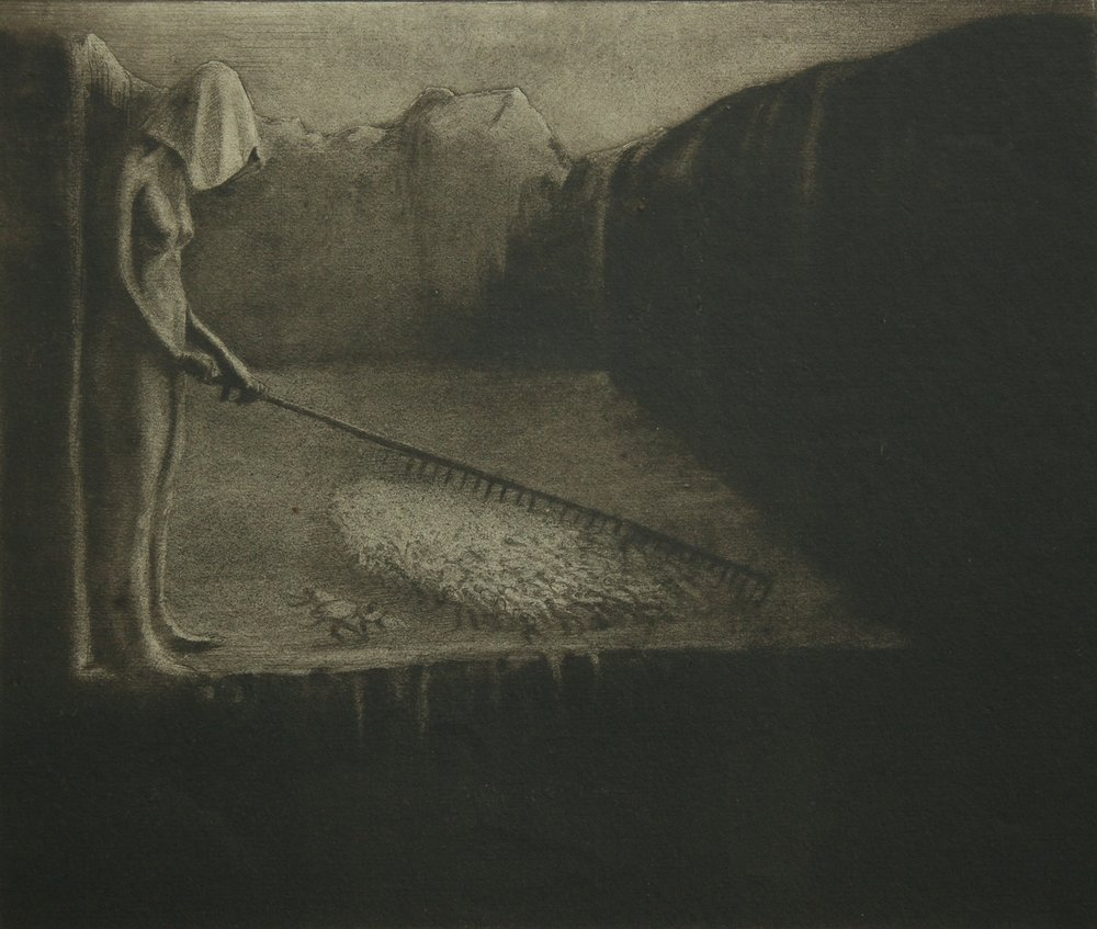 Alfred Kubin - Das Menschenschicksal (The human fate) - Collagraphy - 1903