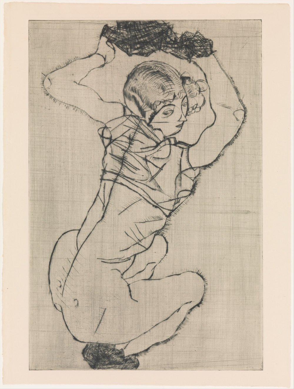 Egon Schiele / Squatting Woman / Drypoint (Puntasecca) / 1914