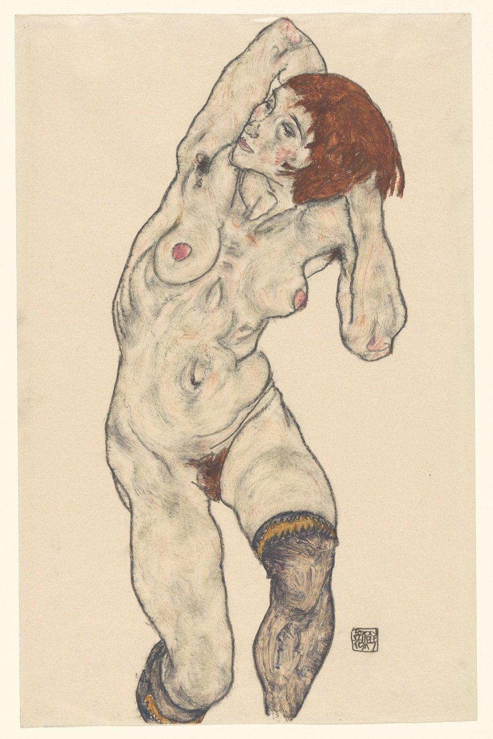 Egon Schiele / Standing nude in black stockings / Watercolor and charcoal on paper (Acquerello e matita su carta) / 1917