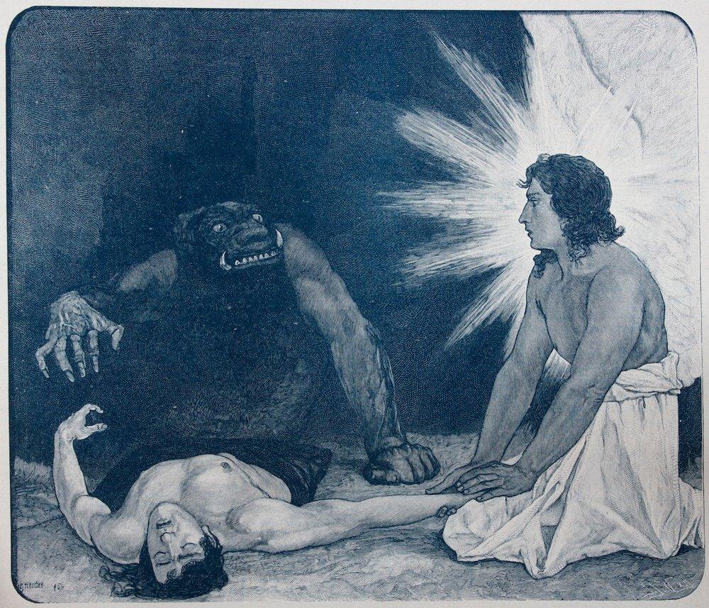 Sascha Schneider / Around a soul / Wood engraving (Incisione) / 1895