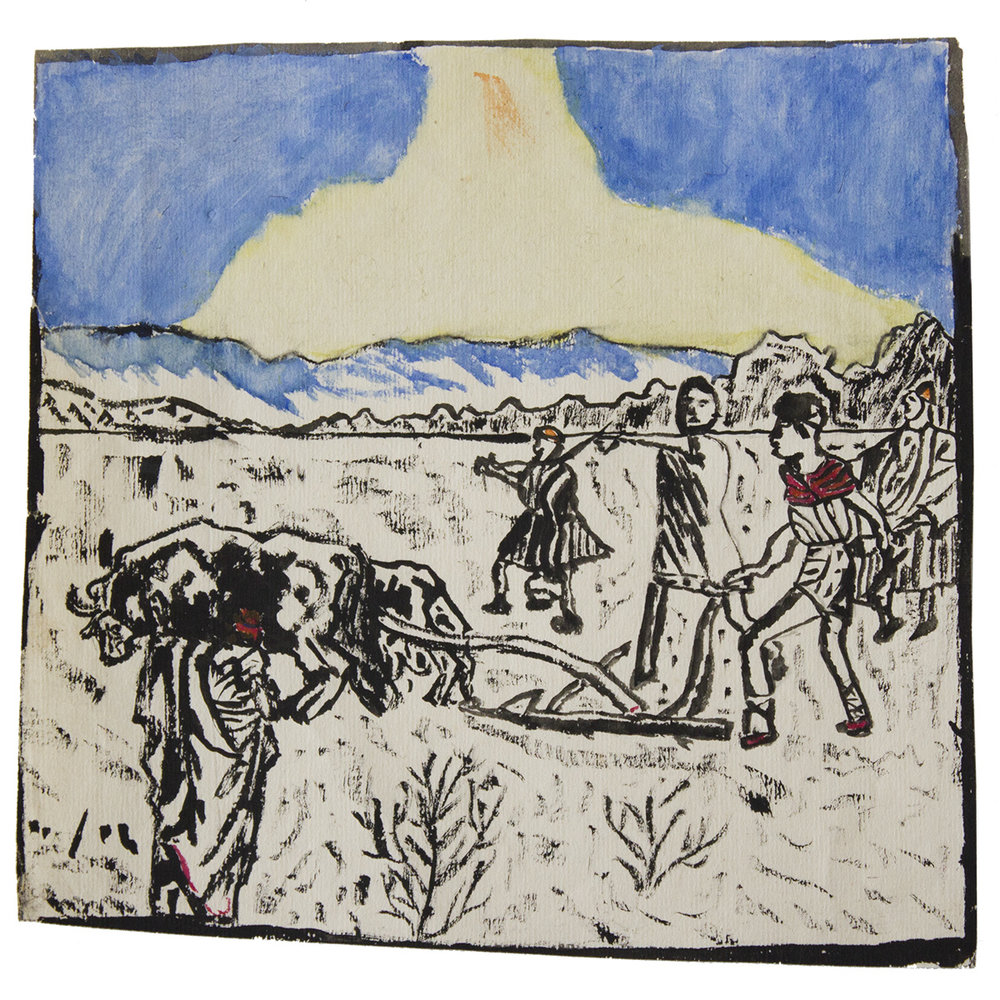 An. / Five Farmers / Gouache on paper (Gouache su carta) / Francoist period (Periodo franchista), 1908-1920 (approximately)