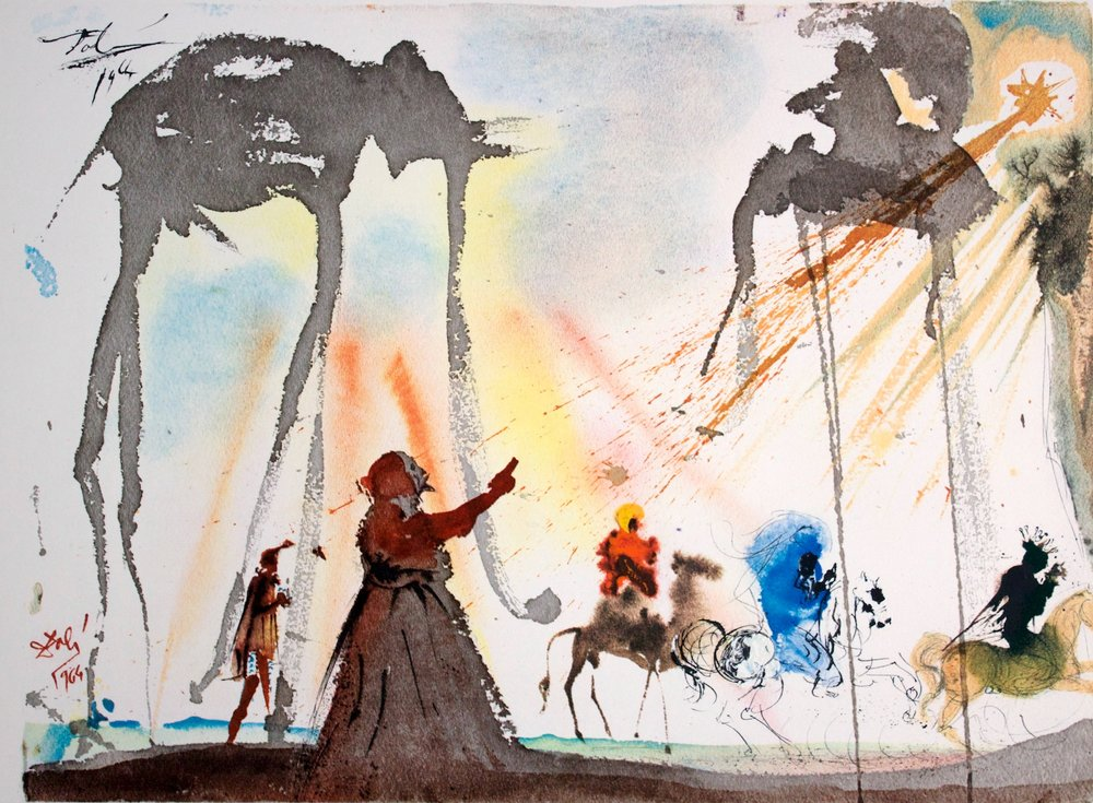 Salvador Dalí - They Will All Come From Saba - Original colored lithograph and serigraph on paper - 1964/1967