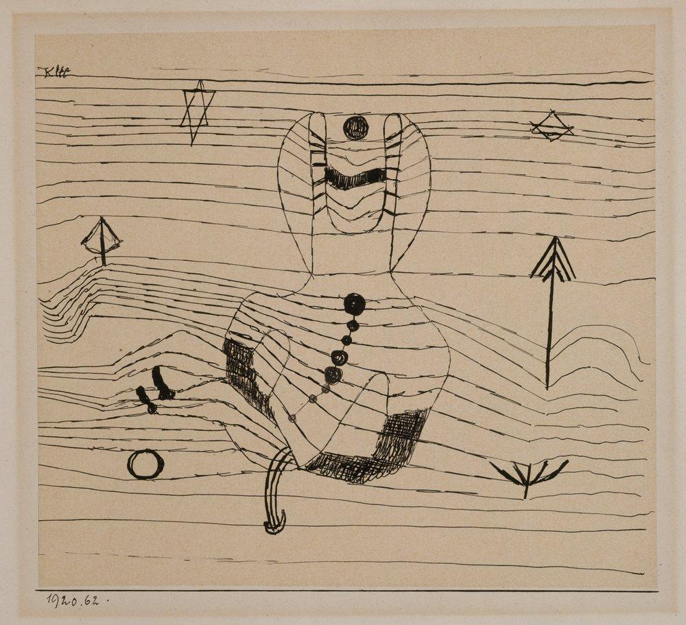 Paul Klee (1879, Münchenbuchsee, Svizzera) - L'estetica geometrica prevalente degli anni '20 e i tentativi di Klee di insegnare una metodologia dell'arte lo portarono a razionalizzare anche la sua stessa pittura. La sua opera del decennio del Bauhaus è più geometrica, e il numero di forme impiegate in una data composizione viene drasticamente ridotto. Tra i molti tipi di composizioni risultanti da questa pratica vi sono immagini fatte interamente di quadrati colorati, striature orizzontali o pattern che ricordano la trama del cesto e, tra i suoi più evocativi, una serie di dipinti in cui oggetti sconcertanti disparati, volti, animali, calici, corpi celesti, coesistono in uno spazio nero indifferenziato.Agli albori del nazismo, Klee fu destituito dalla sua posizione, la sua casa ed il suo studio furono perquisiti dalla Gestapo a causa delle sue note simpatie di sinistra. Nonostante queste difficoltà, Klee ha continuato a produrre la sua arte senza ritegno. I disegni di questo periodo sono per lo più rappresentativi e narrativi; molti riflettono direttamente i disordini politici dell'epoca, occupandosi in modo ironico della demagogia, del militarismo, della violenza politica e dell'emigrazione.