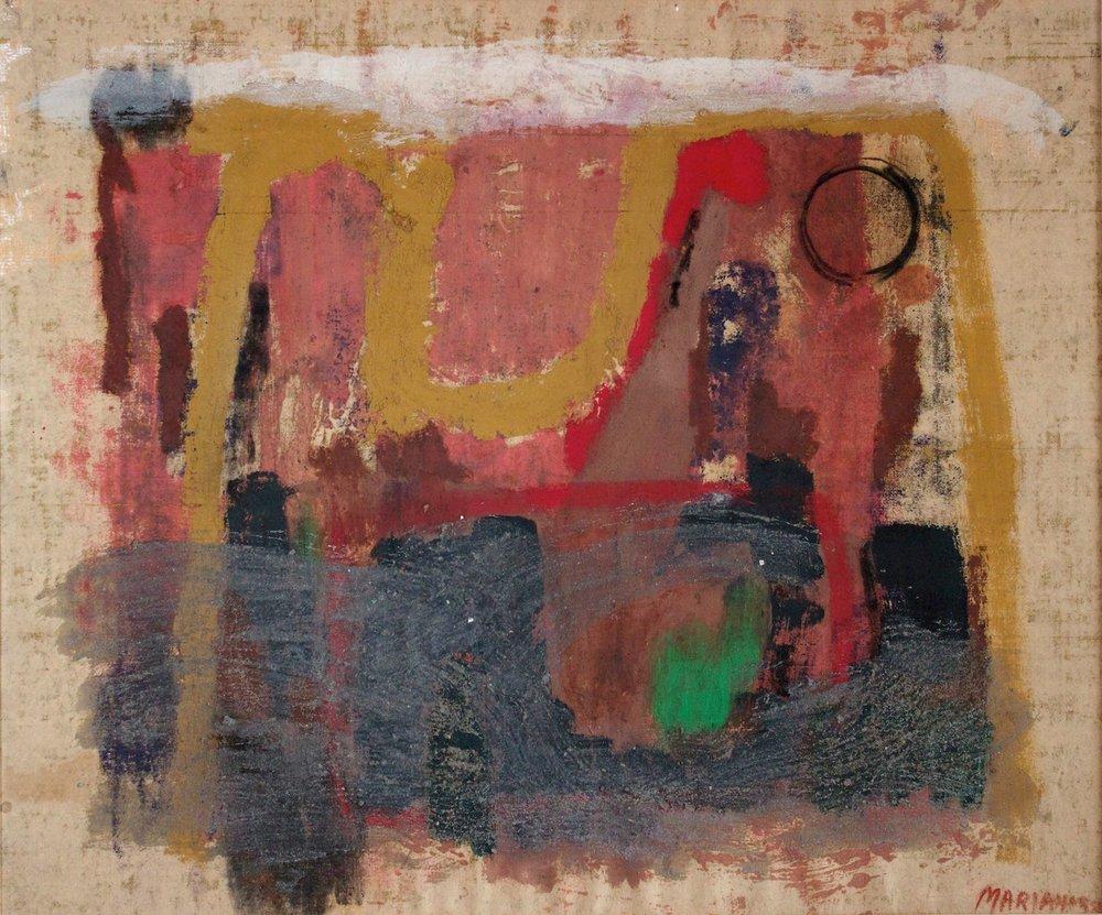 Marcello Mariani - Paesaggio - Oil and mixed media on canvas - 1959
