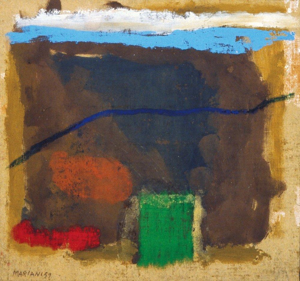 Marcello Mariani - Paesaggio - Oil and mixed media on canvas - 1958