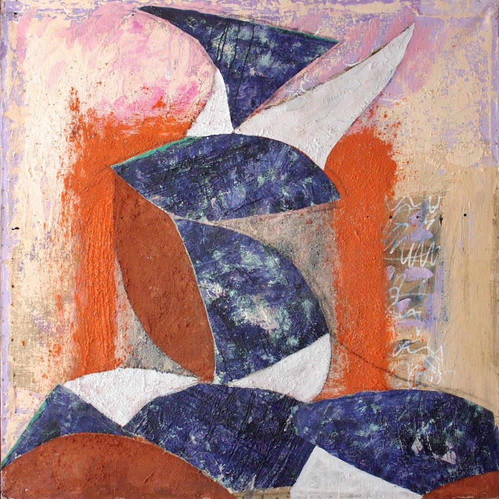 Marcello Mariani - Forma Archetipa (Angelo Ribelle, omaggio a Licini) - Mixed media and collage on ancient canvas - 1995/1996