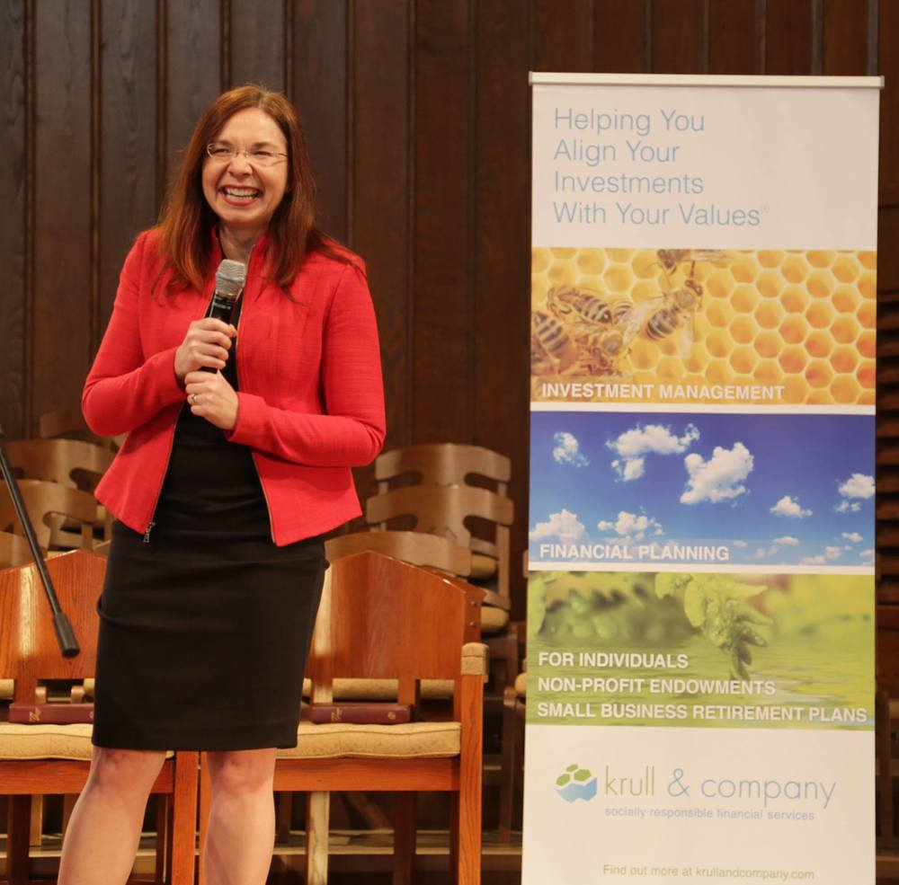 Climate Scientist & Educator Katharine Hayhoe speaking at a recent ReVest/Earth Equity Advisors Event